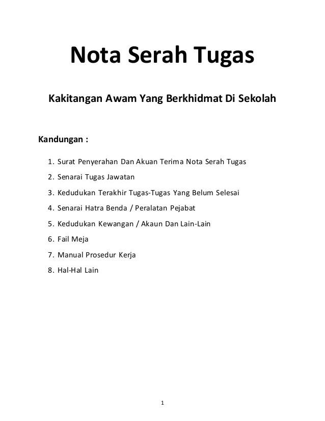 Nota Serah Tugas Norizan Cuitan Dokter