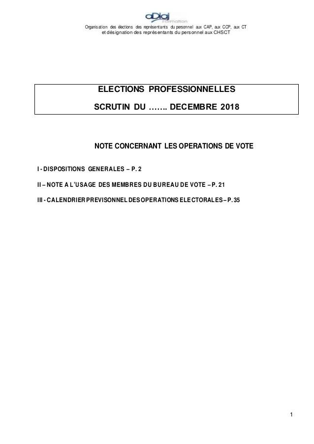 organisation des elections des representants du personnel aux cap aux ccp