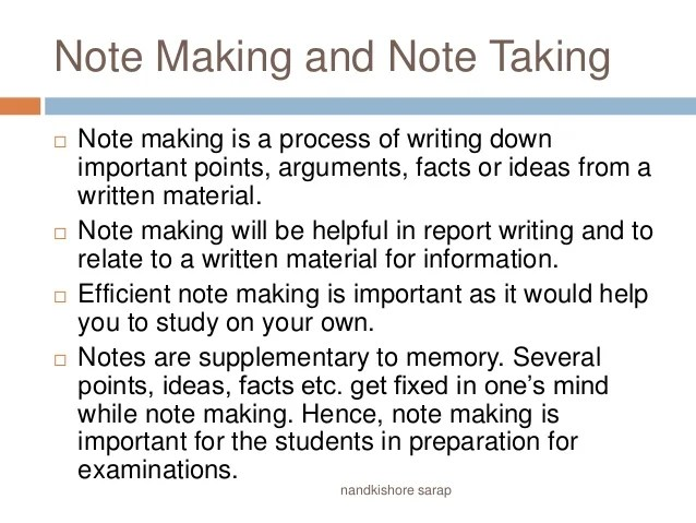 Note Making And Note Taking