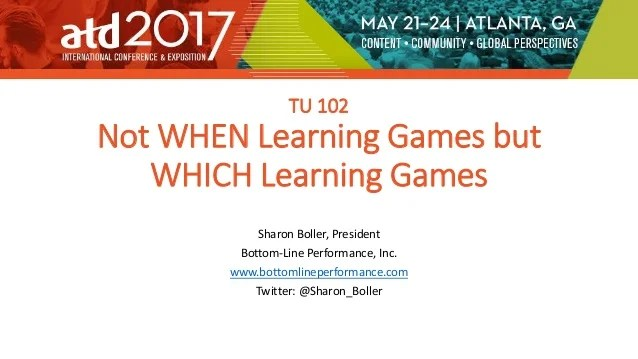 Not When Games But Which Learning Games