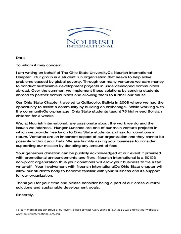 Nourish International Donation Letter