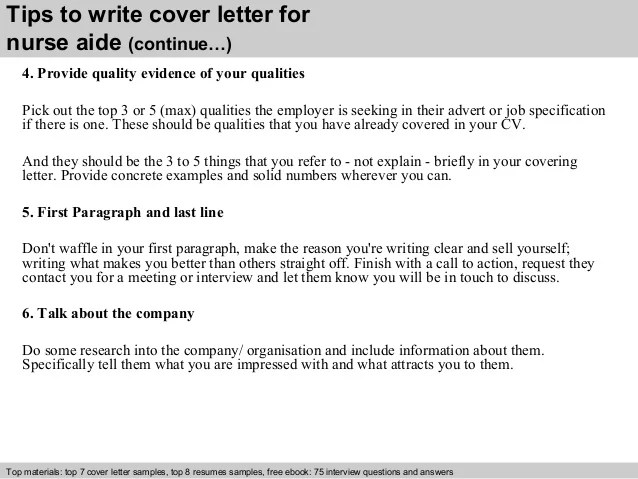 Nurse Aide Cover Letter