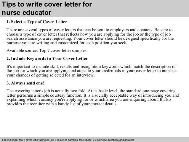 Sample Cover Letter For Nursing Educator Position