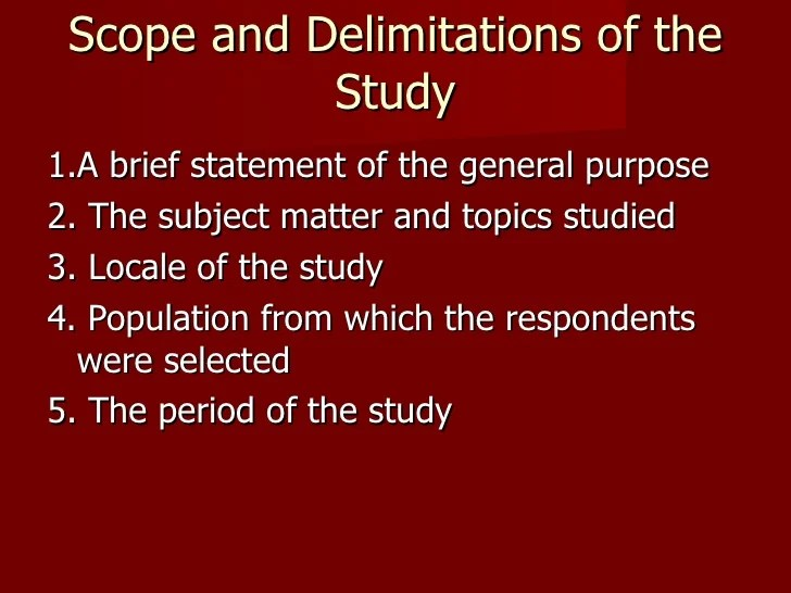 Scope Delimitations Research Paper Homework Academic Service