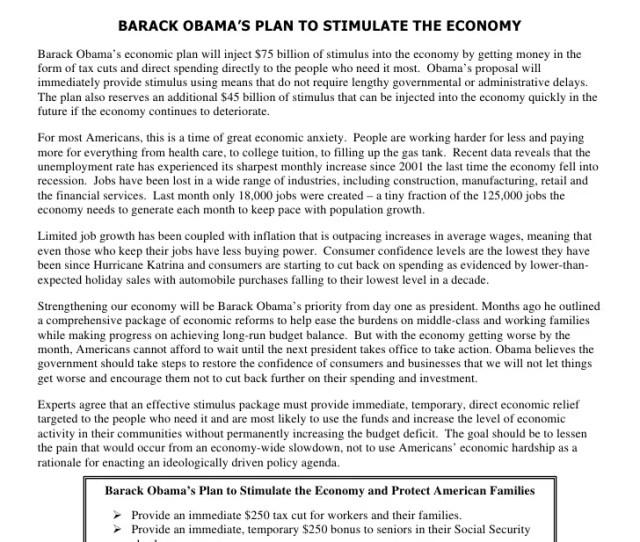 Barack Obamas Plan To Stimulate The Economy Barack Obamas Economic Plan Will Inject 75 Billion Of