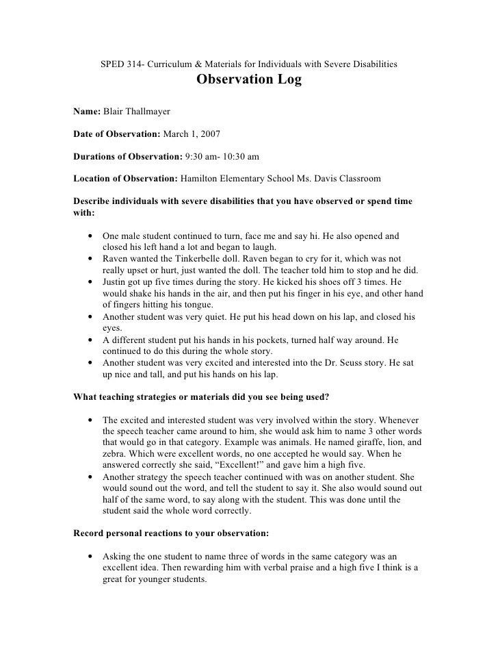 Severe Disabilities Observation Log