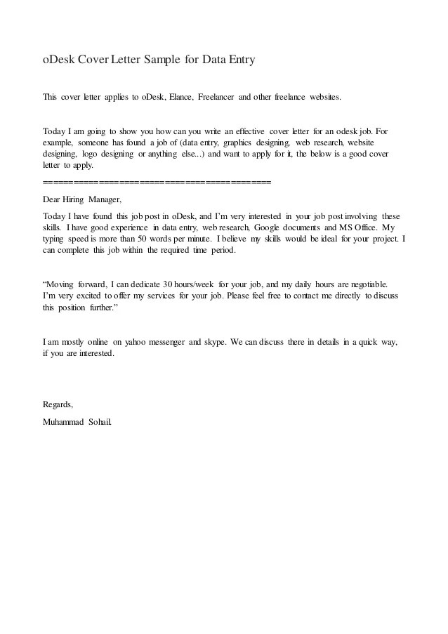 Sample Cover Letter For Data Entry Position