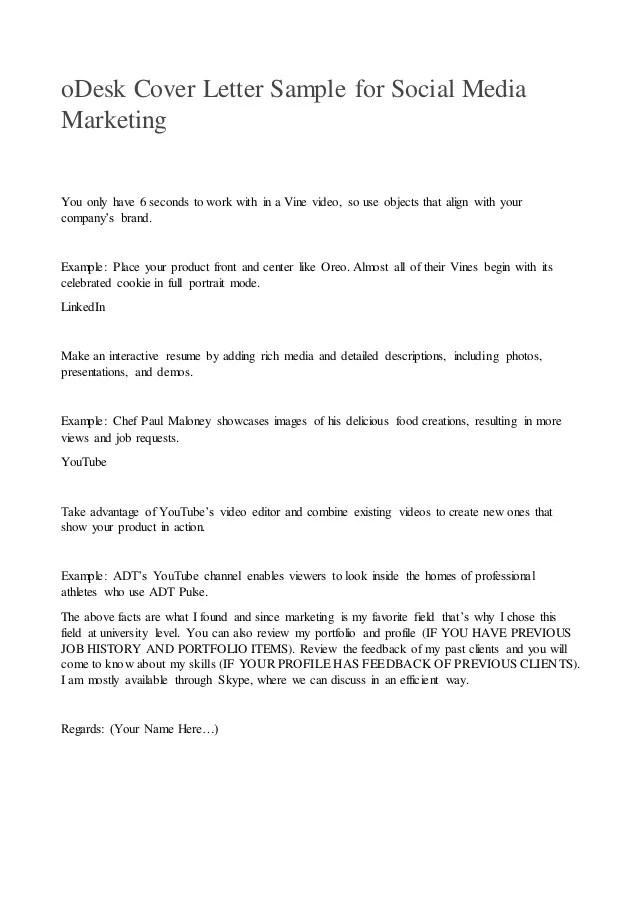 oDesk cover letter sample for social media marketing