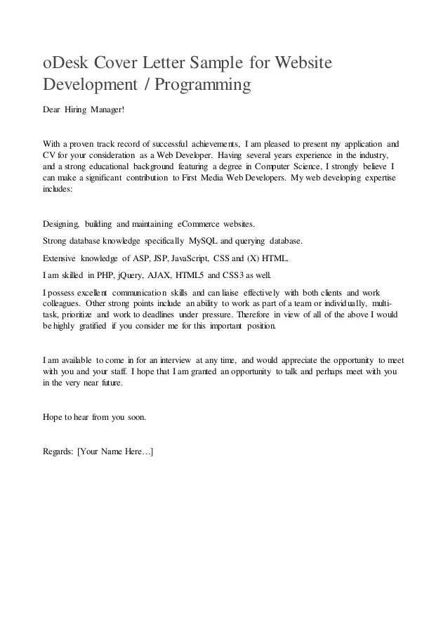 oDesk cover letter sample for website development or programming