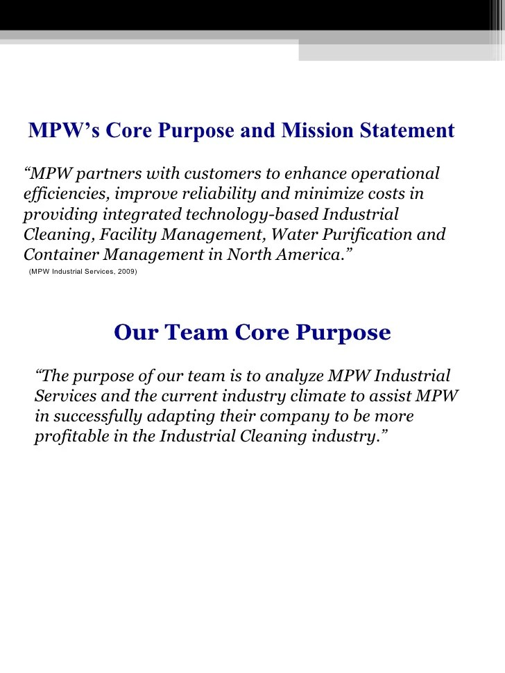 Cluster Project 3 Report On MPW Industrial Cleaning Services