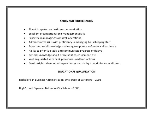 Resume Skills For Business Administration