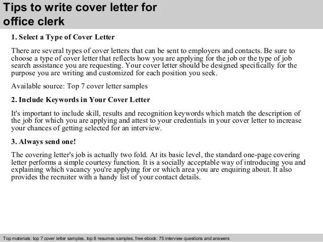 Office clerk cover letter