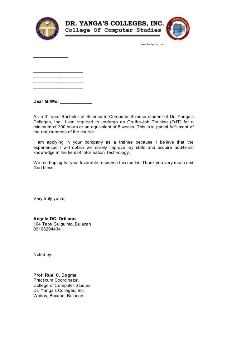 Ojt Application Letter