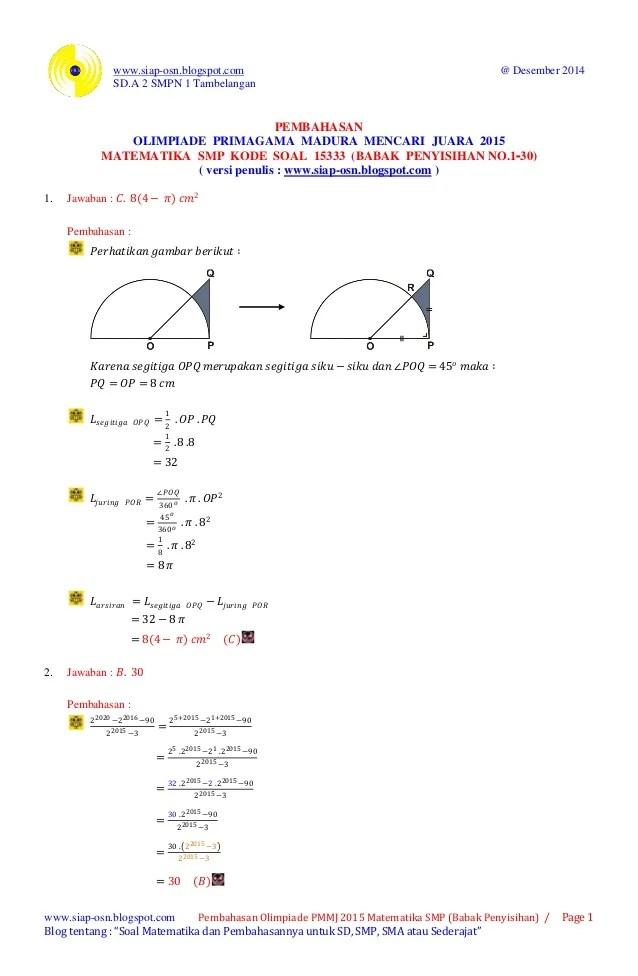 Soal Dan Pembahasan Olimpiade Matematika Download Newhairstylesformen2014 Com