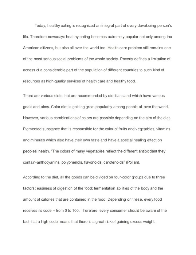 Healthy Foods Essay Essay On High School Experience Apa Essay Papers