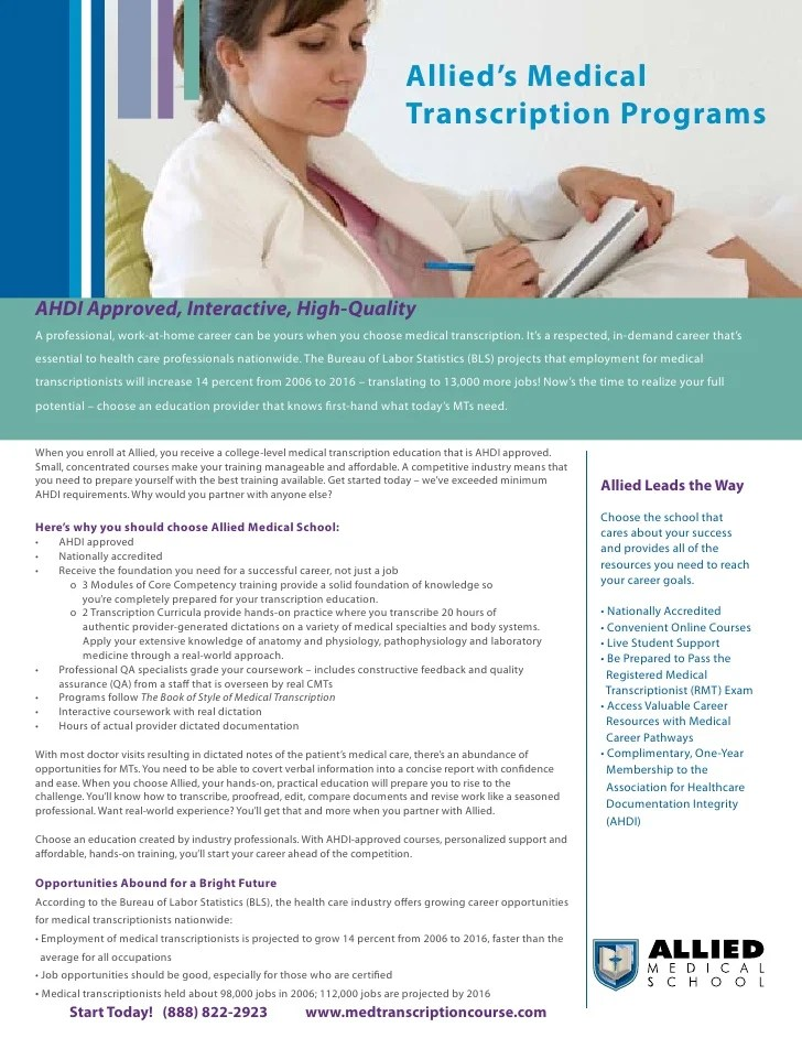 Online Medical Transcription School Training Program From