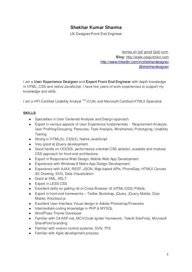 UX Designer And Front End Engineer CV Resume