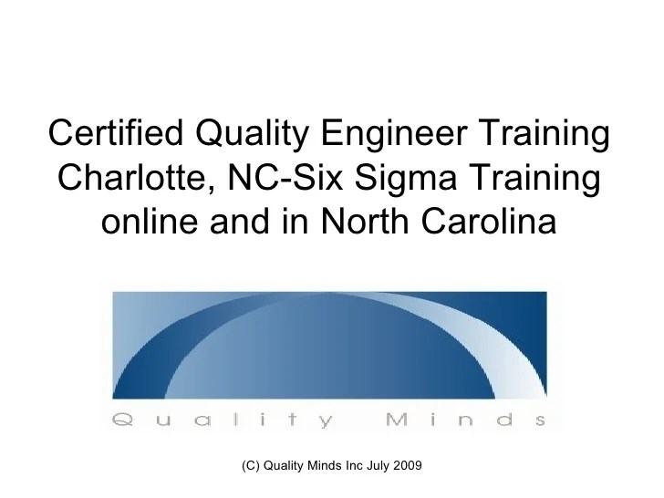 Certified Quality Engineer Training Charlotte NCSix Sigma Training