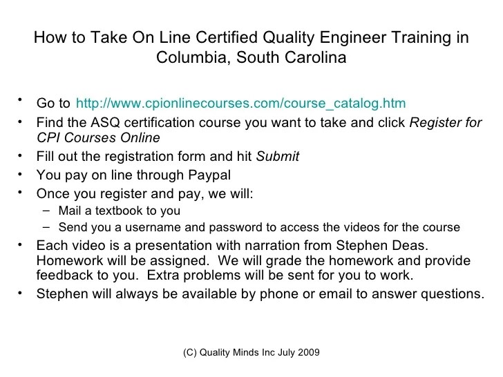 Certified Quality Engineer Training ColumbiaSCSix Sigma Training on