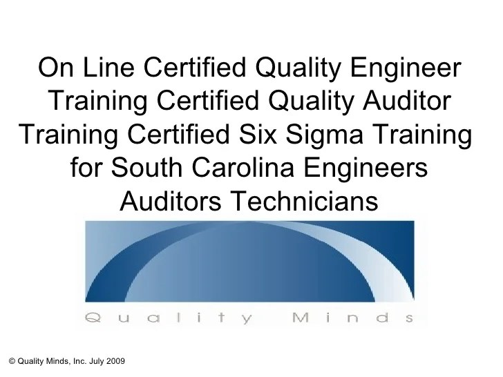Certified Quality Engineer Training AndersonSCSix Sigma Training on
