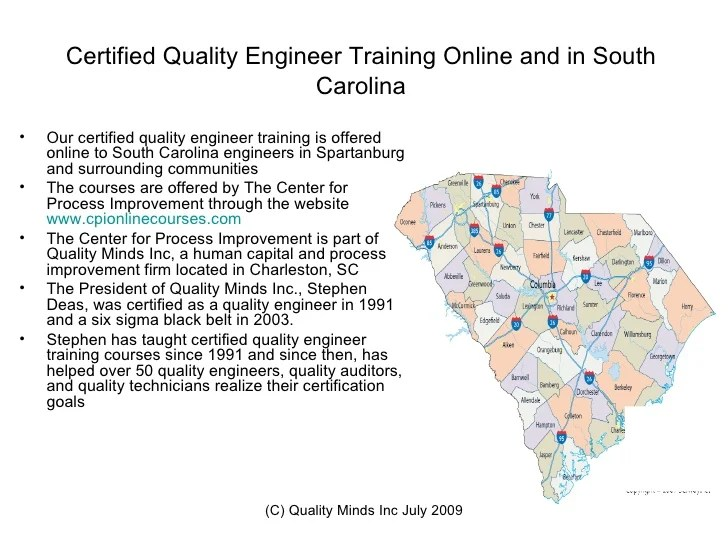 Certified Quality Engineer Training SpartanburgSCSix Sigma Training