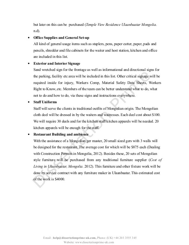 Opening A Restaurant Plan Dissertation Sample