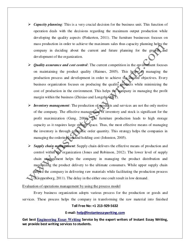 management essay writing sample on operation management in business ...