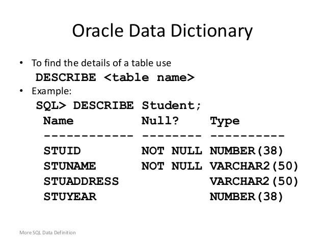 DDLData defination Language  Using Oracle