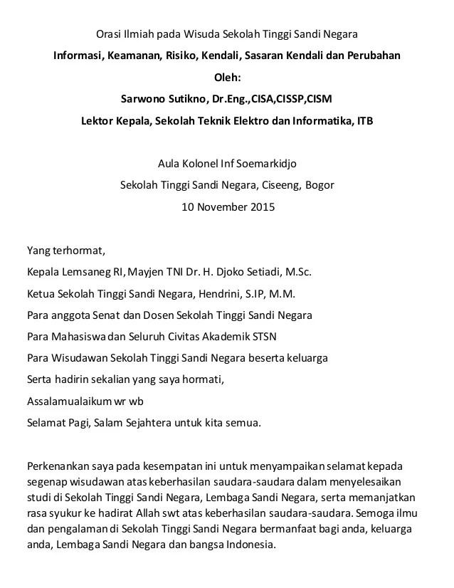 Pengertian Orasi Ilmiah : pengertian, orasi, ilmiah, Orasi, Ilmiah, Wisuda, Sekolah, Tinggi, Sandi, Negara, November