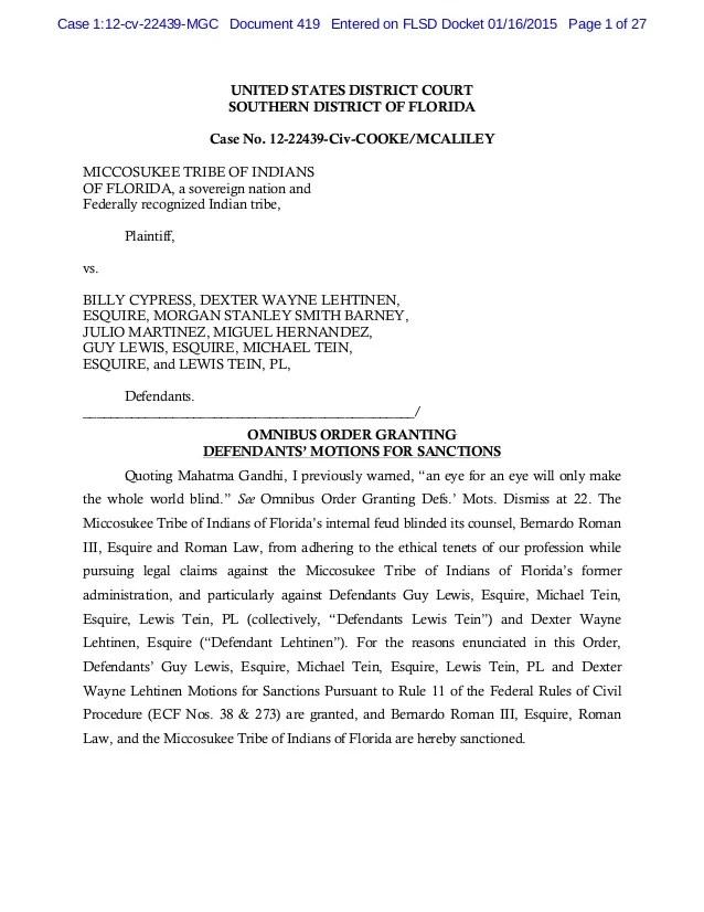 Order granting omnibus order granting defendants motions