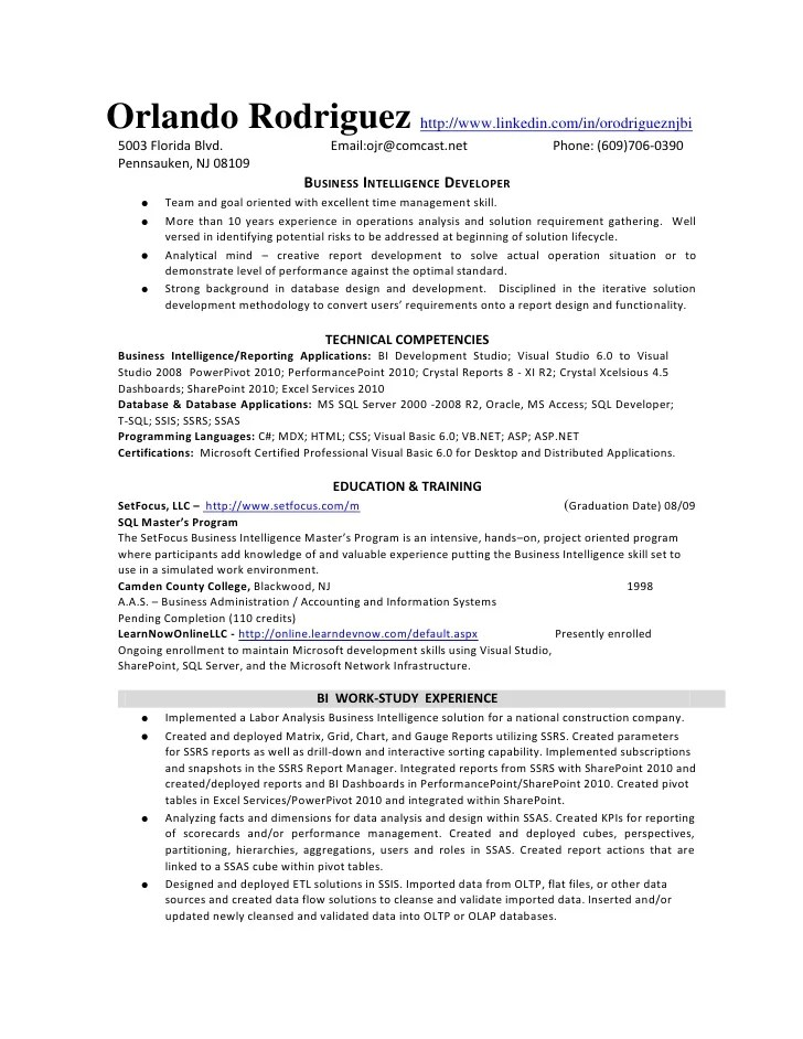 power bi developer resume sample