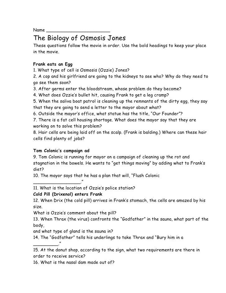 Printables Osmosis Jones Worksheet tonicity and osmosis worksheet answers laveyla com davezan