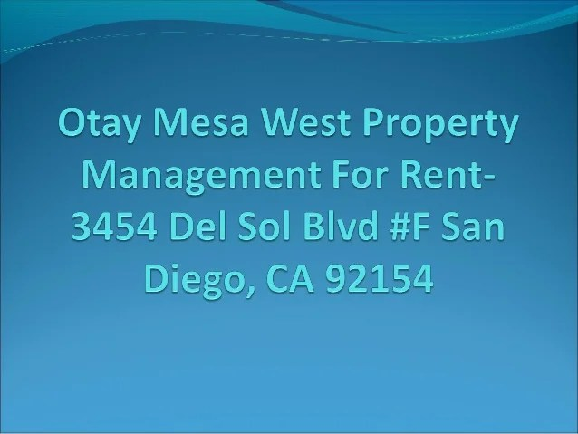 Otay Mesa West Property Management for Rent