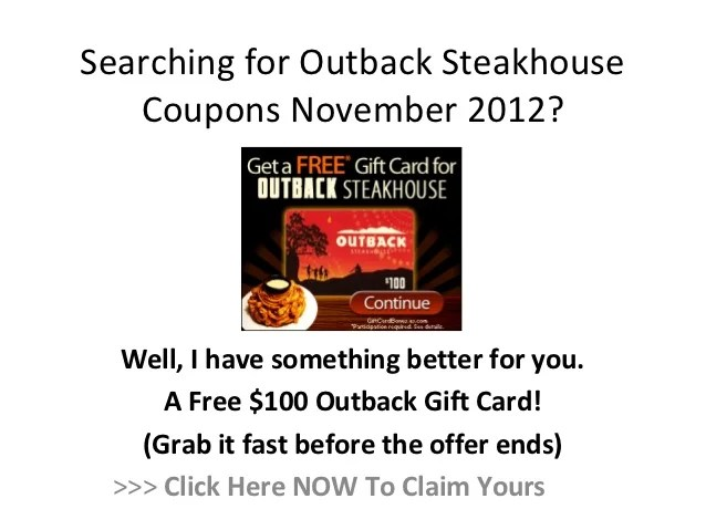Outback Steakhouse Coupons November 2012