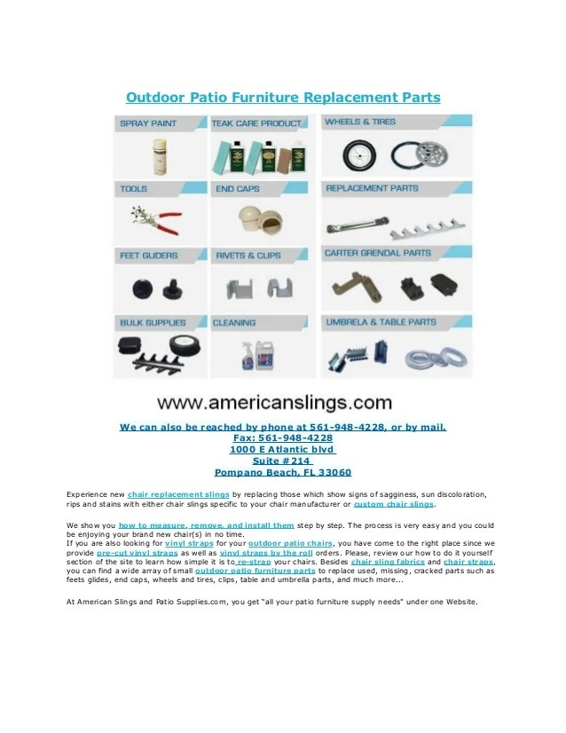 outdoor patio furniture replacement parts