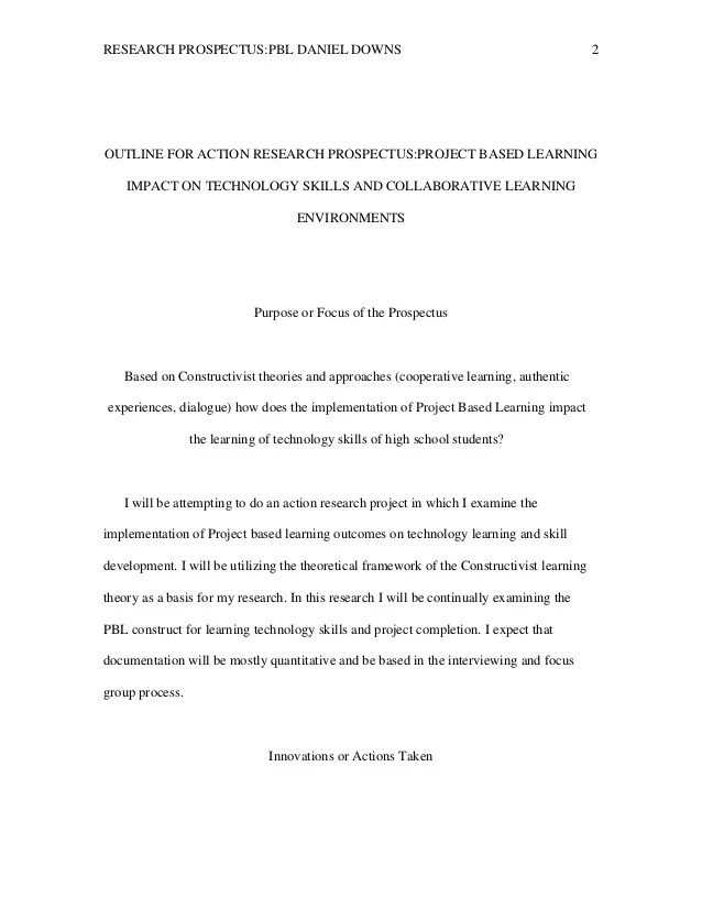 Outline For Action Research Prospectus