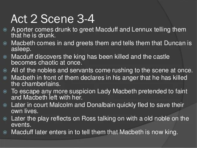 Outline of macbeth act 1 to act 3