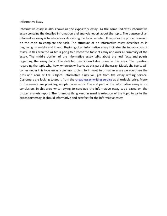 Outline summary of informative essay