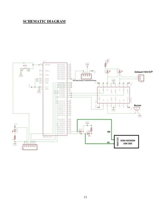 based lpg gas leakage detector using gsm module circuit diagram