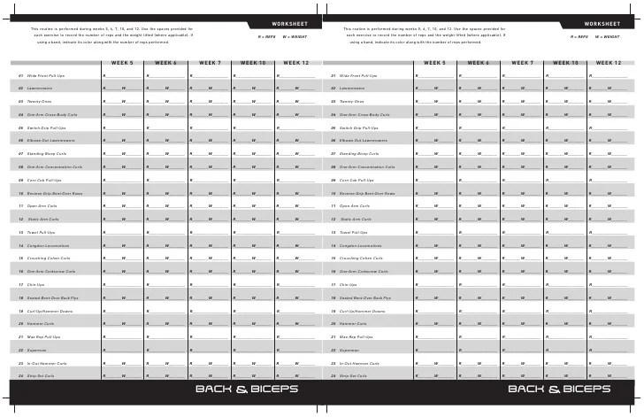 P90x Back And Biceps Workout Sheet Eoua Blog - Classycloud co