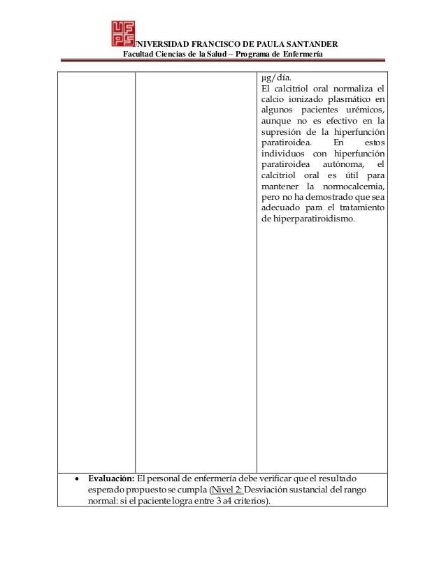 Proceso De Atención De Enfermería Para Hipercalcemia
