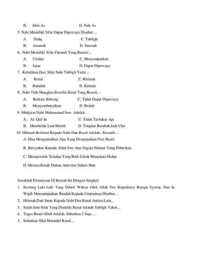Sebutkan 10 Nabi dan Rasul Yang Kamu Ketahui?