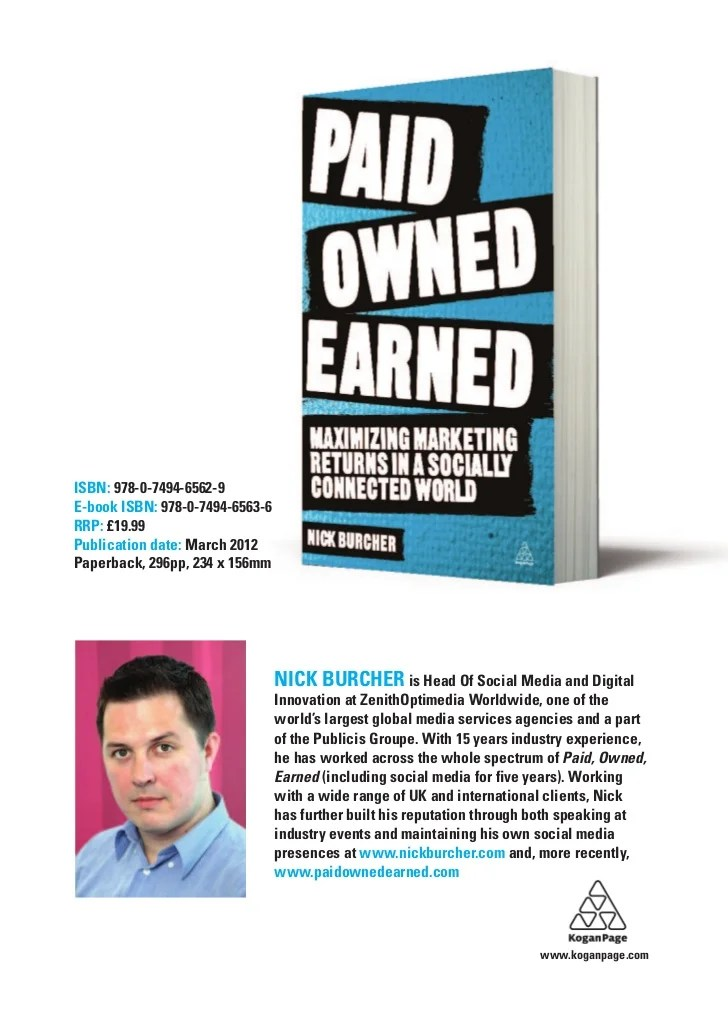 Paid Owned Earned The Book Sample Editorial By Nick Burcher