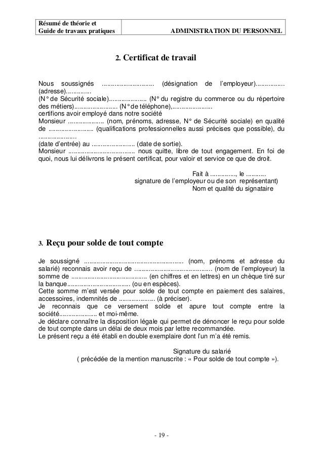 Modele Certificat De Travail En Cas De Licenciement