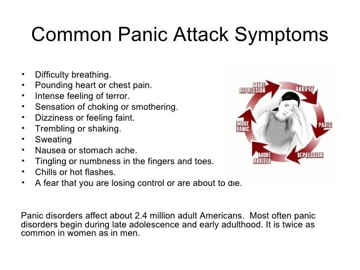 Common Panic Attack Symptoms <ul><li>Difficulty breathing. </li></ul><ul><li>Pounding heart or chest pain. </li></ul><ul><...