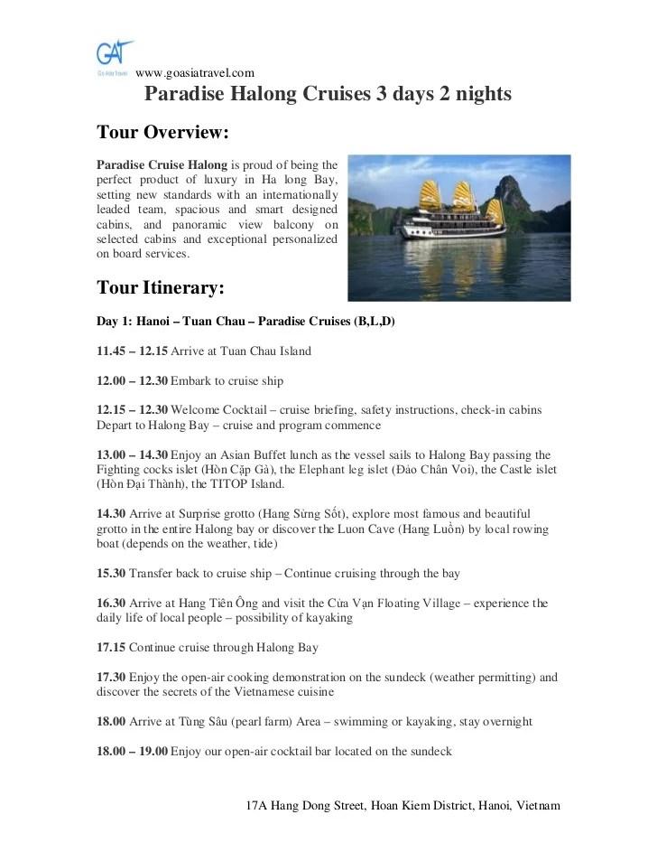 Paradise Halong Cruises 3 Days 2 Nights Halong Tours