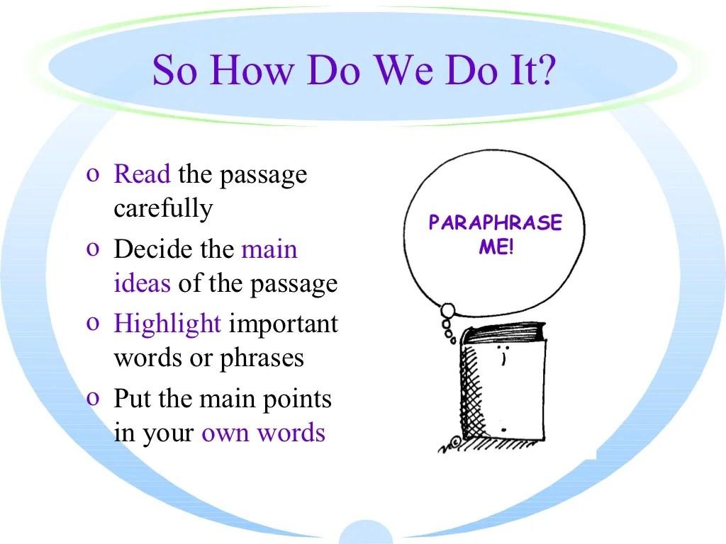 Teaching Paraphrasing To Students