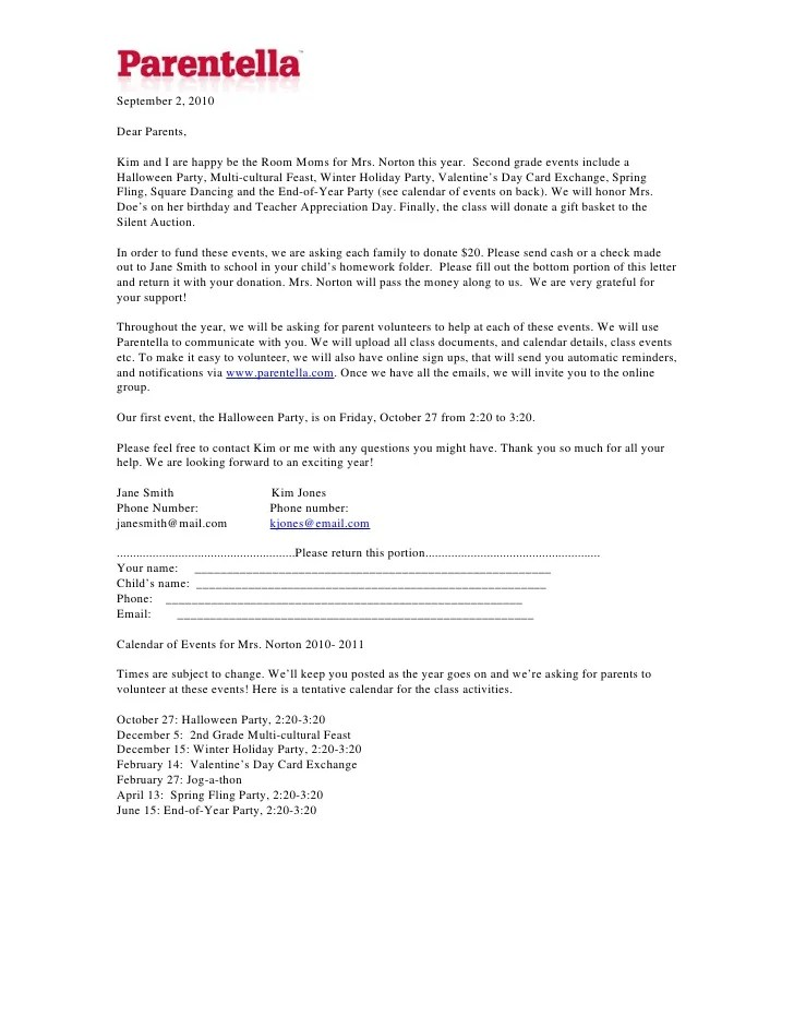 Parentella Sample Room Parent Letter