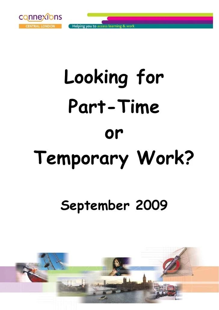 Part Time Temp Work Sep 09