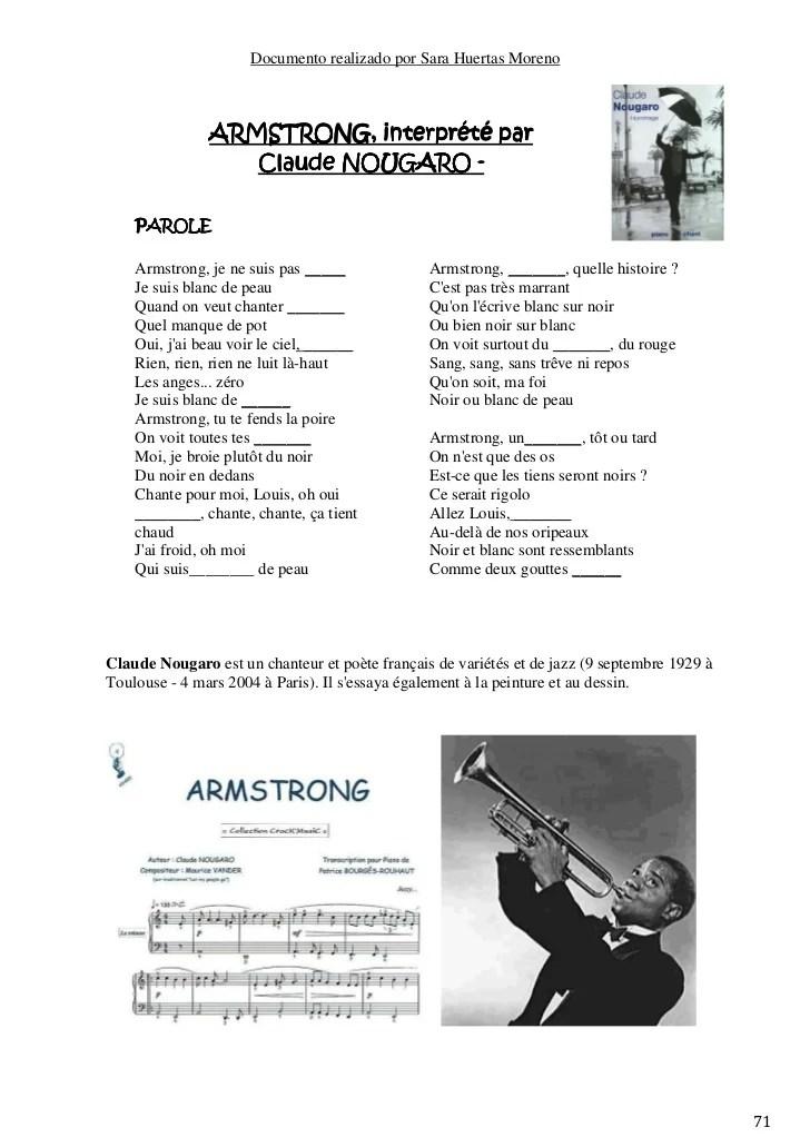 Armstrong Je Ne Suis Pas Noir Parole : armstrong, parole, Partitions, Biling